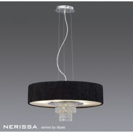 Nerissa 6 Light Large Ceiling Fixture with Crystal Detail and Black Shade