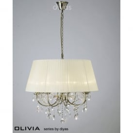 Olivia 8 Light Antique Brass Ceiling Fitting with Cream Shade