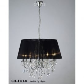 Olivia 8 Light Polished Chrome Ceiling Pendant with Black Gauze Shade