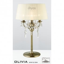 Olivia Antique Brass Finish Table Lamp with Ivory Cream Shade