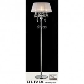 Olivia Polished Chrome Finish Floor Lamp with White Gauze Shade