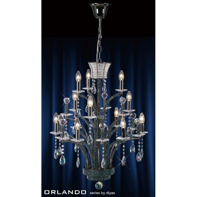 Diyas Orlando 12 Light Black Chandelier with Asfour Crystal Decoration