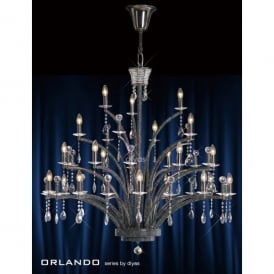 Orlando Large 21 Light Black Chandelier with Asfour Crystal Decoration