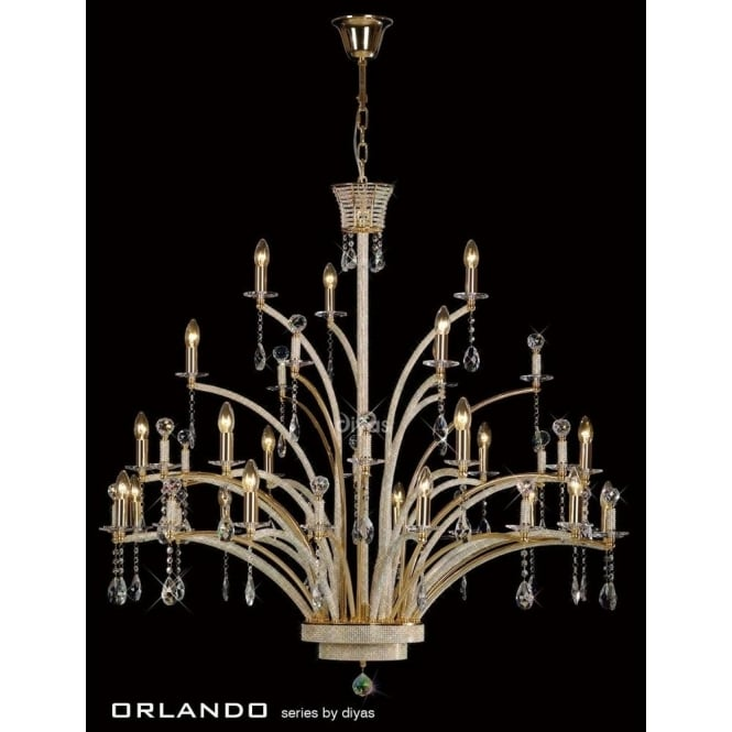 Diyas Orlando Large 21 Light Chandelier in Gold and Asfour Crystal Finish