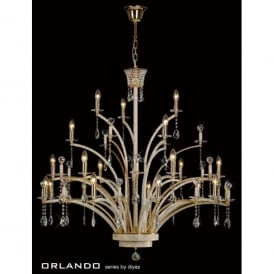 Orlando Large 21 Light Chandelier in Gold and Asfour Crystal Finish