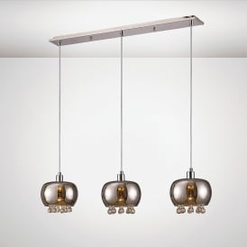 Pandora 3 Light Bar Ceiling Pendant In Black Chrome And Clear Crystal Finish
