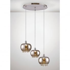 Pandora 3 Light Ceiling Pendant In Black Chrome And Clear Crystal Finish