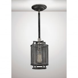 Parker Single Light Ceiling Pendant In Weathered Zinc And Brushed Nickel Finish