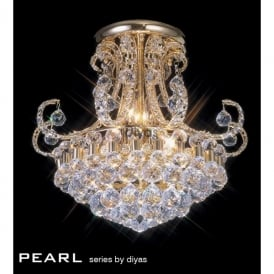 Pearl 9 Light Semi-Flush Ceiling Fitting in Crystal and French Gold