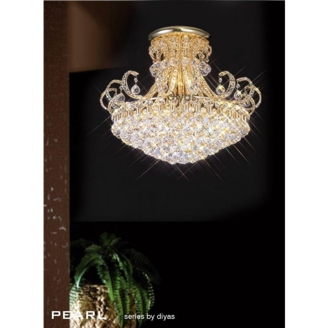 Diyas Pearl Large 12 Light Semi-Flush Ceiling Fitting in Crystal and French Gold