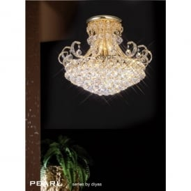Pearl Large 12 Light Semi-Flush Ceiling Fitting in Crystal and French Gold