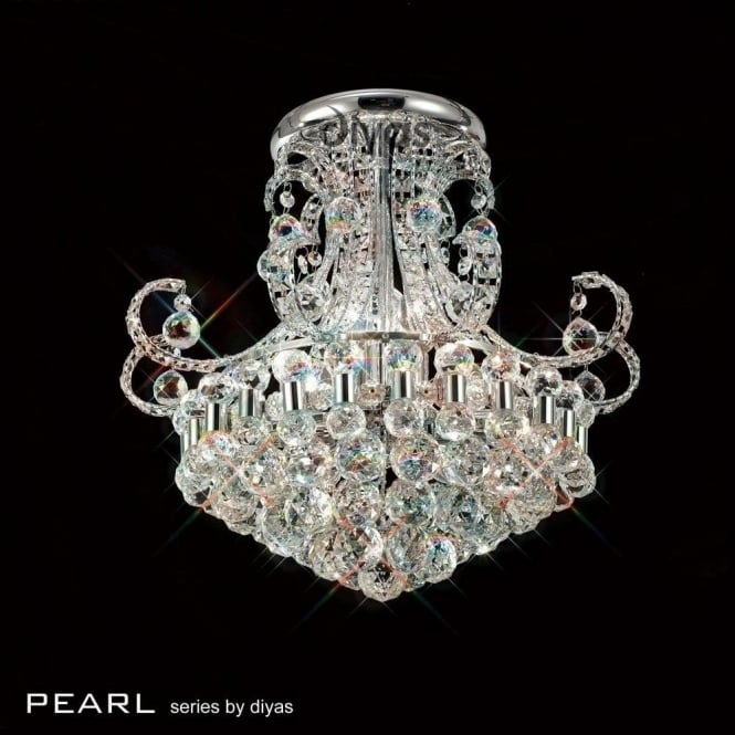 Diyas Pearl Semi-Flush 9 Light Ceiling Fixture in Polished Chrome with Crystal