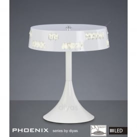 Phoenix 18 Light LED White Gloss Table Lamp with Square Crystals