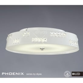 Phoenix 36 Light LED White Gloss Ceiling Fixture with Square Crystals