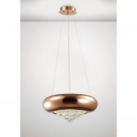 Phyllis 3 Light Large Ceiling Pendant In Copper And Crystal Finish