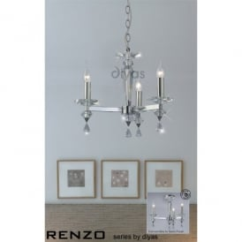 Renzo 3 Light Chandelier in Crystal and Polished Chrome