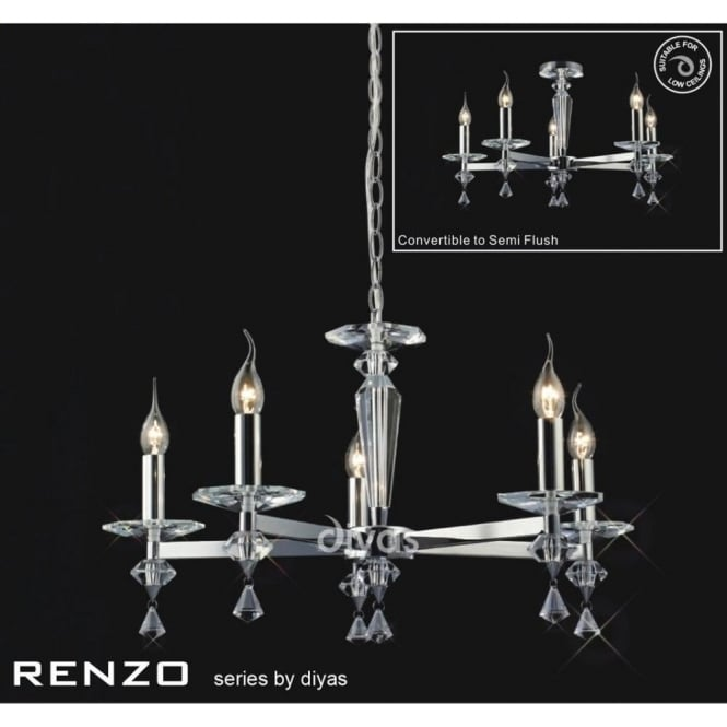 Diyas Renzo Medium 5 Light Chandelier in Crystal and Polished Chrome