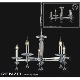 Renzo Medium 5 Light Chandelier in Crystal and Polished Chrome