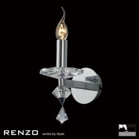 Renzo Single Light Wall Fitting in Crystal and Polished Chrome