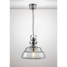 Reyna Single Light Large Ceiling Pendant In Polished Chrome And Clear Glass Finish