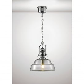 Reyna Single Light Medium Ceiling Pendant In Polished Chrome And Clear Glass Finish