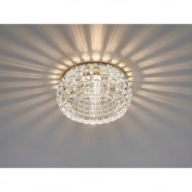 Ria Single Light Cube Pattern Recessed Round Crystal Down Light