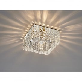Ria Single Light Cube Pattern Recessed Square Crystal Down Light