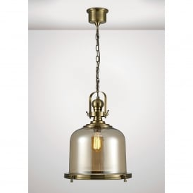 Riley Single Light Large Ceiling Pendant In Antique Brass And Bell Shaped Glass Shade