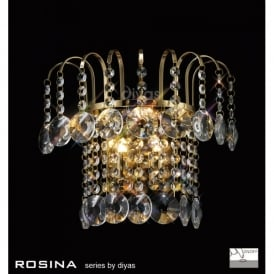 Rosina 2 Light French Gold Wall Fixture with Crystal Decoration