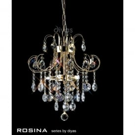 Rosina 5 Light French Gold Ceiling Pendant with Crystal Decoration
