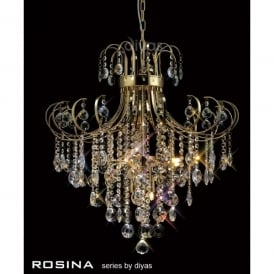 Rosina Large 7 Light French Gold Ceiling Pendant with Crystal Decoration