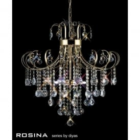 Rosina Medium 6 Light French Gold Ceiling Pendant with Crystal Decoration
