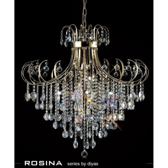 Diyas Rosina XL 8 Light French Gold Ceiling Pendant with Crystal Decoration