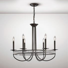 Saskia 6 Light Ceiling Pendant In Aged Bronze And Crystal Finish