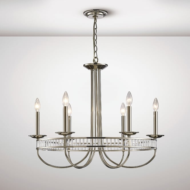 Diyas Saskia 6 Light Ceiling Pendant In Polished Nickel And Crystal Finish