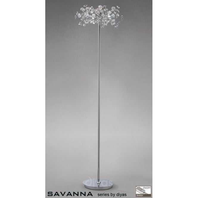 Diyas Savanna 3 Light Floor Lamp in Polished Chrome with Crystal Discs