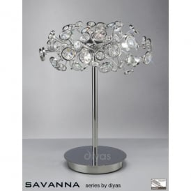 Savanna 3 Light Table Lamp in Polished Chrome with Crystal Discs
