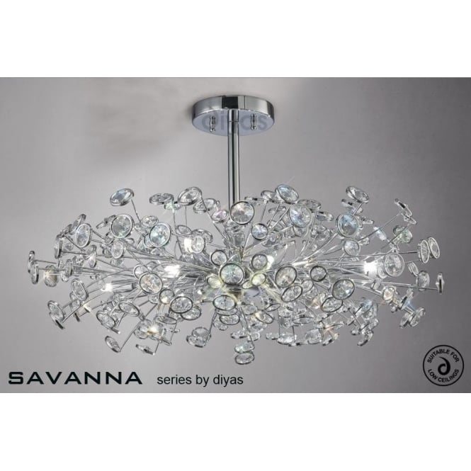 Diyas savanna large 8 light ceiling fitting in polished chrome savanna large 8 light ceiling fitting in polished chrome with crystal discs aloadofball Gallery