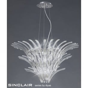 Sinclair Large 12 Light Polished Chrome Ceiling Pendant With Crystal Prisms
