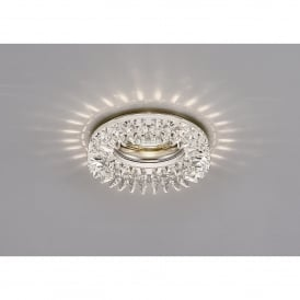 Single Light Recessed Crystal Down Light Fascia