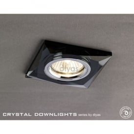 Slim Recessed Chamfered Black Crystal Square Downlight Fascia Only