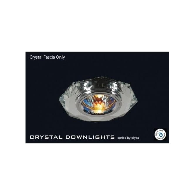 Diyas Slim Recessed Clear Crystal Hexagonal Downlight Fascia Only