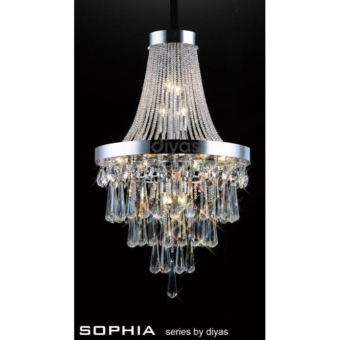 Diyas Sophia 13 Light Asfour Crystal Chanelier Pendant In Polished Chrome