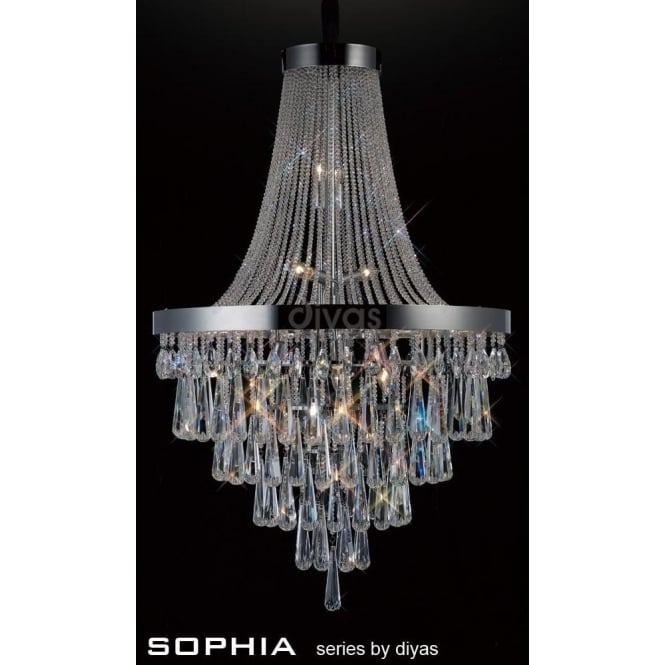 Diyas Sophia Large 17 Light Asfour Crystal Chandelier In Polished Chrome