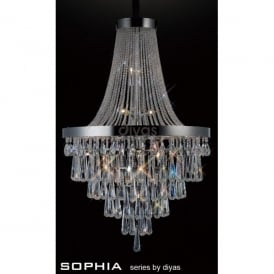 Sophia Large 17 Light Asfour Crystal Chandelier In Polished Chrome