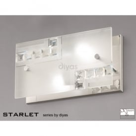 Starlet Switched 2 Light Crystal and Frosted Glass Wall Fitting