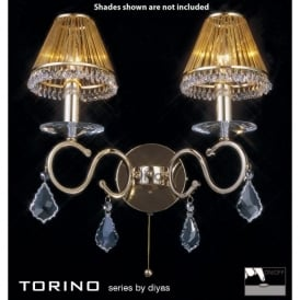 Torino 2 Light Wall Fixture in French Gold with Crystal Decoration