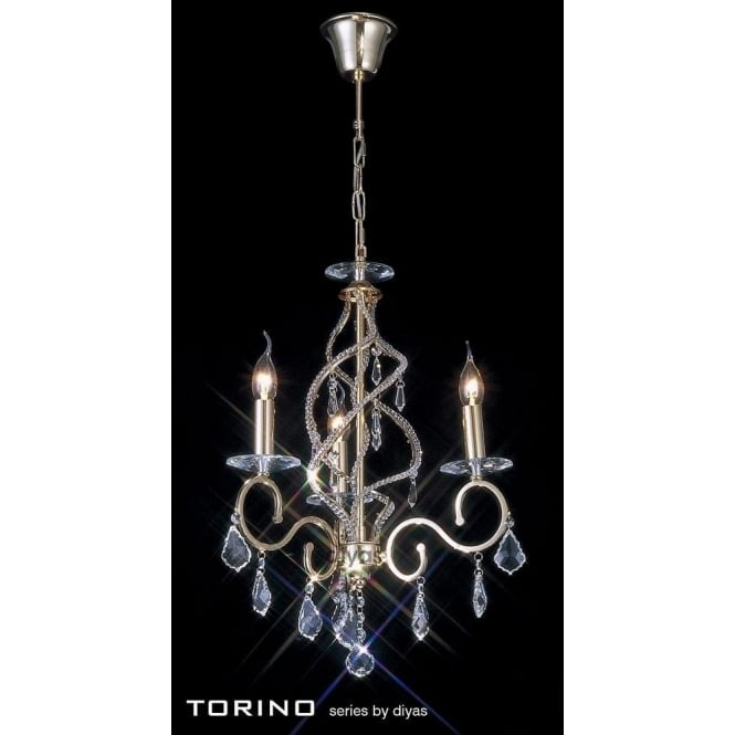 Diyas Torino 3 Light Chandelier in French Gold with Crystal Decoration