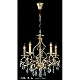 Torino 5 Light Medium Chandelier in French Gold with Crystal Decoration