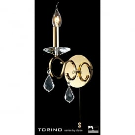 Torino Single Light Wall Fixture in French Gold with Crystal Decoration